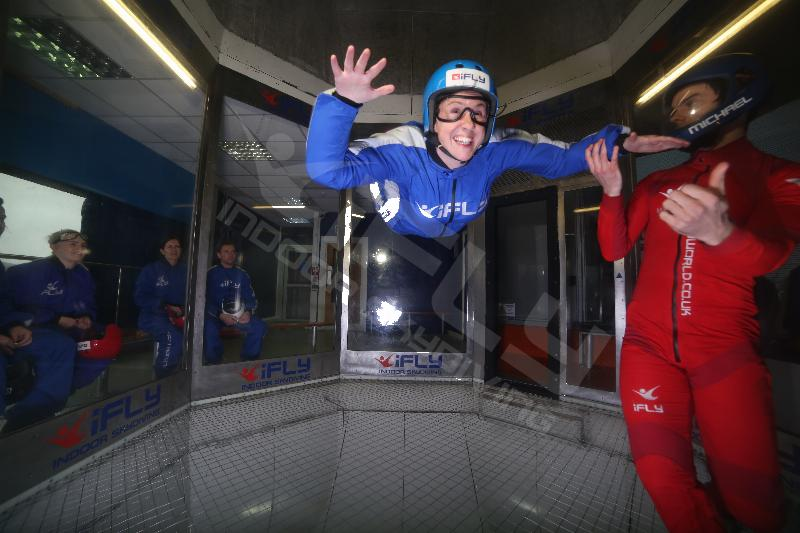 indoor skydive at ifly smiling