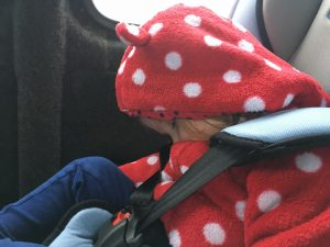 toddler fast asleep in car seat