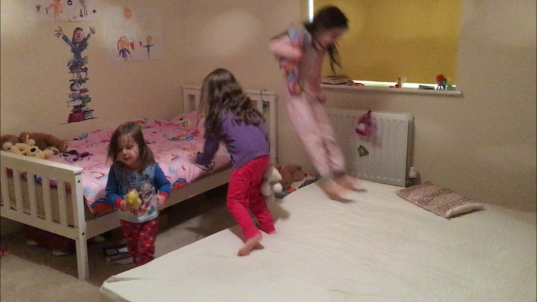 birthday Sleepover bed bouncing